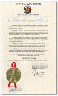 Wisconsin Proclamation: Meningitis Day 2011